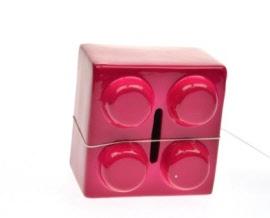 Stoobz spaarpot legoblokje hard roze