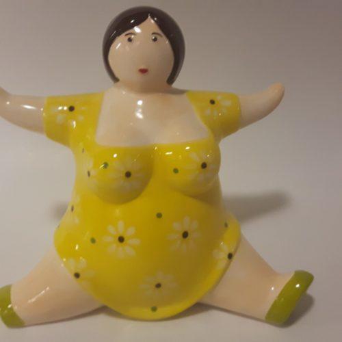 Spaarpot Dikke Dame  met gele jurk