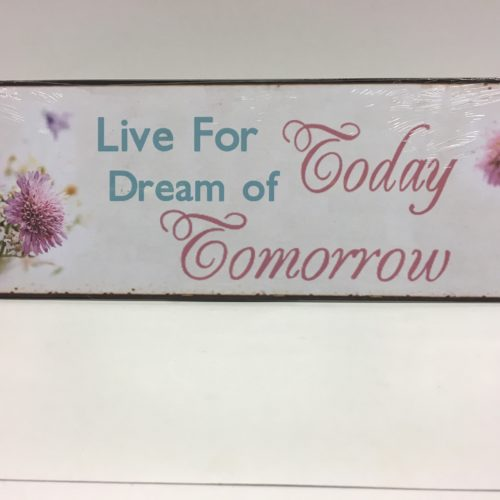 Tekstbord Live for today dream of tomorrow