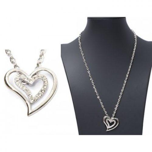 Ketting Love - dubbel hart zilverkleur met strass
