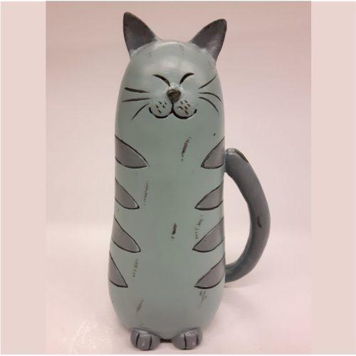 Beeldje kat zittend pastel blauw-grijs