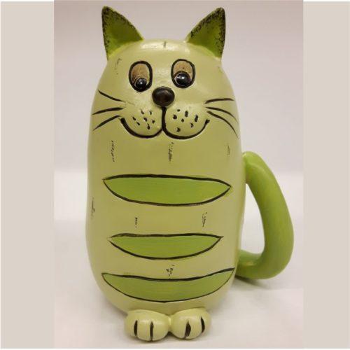 Beeldje kat zittend pastel groen