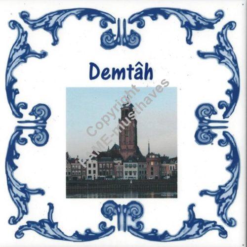 Deventer spreuk tegeltje Demtah met skyline