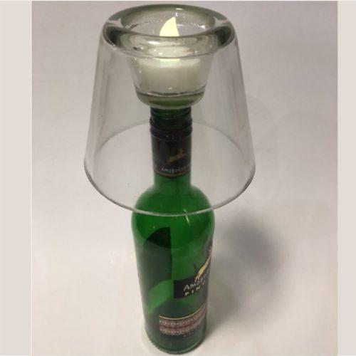 Bottlelight waxinelichthouder voor op een fles van helder glas