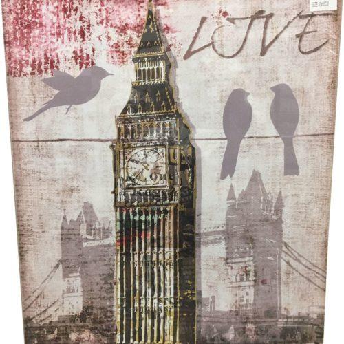 Canvas schilderij Londen met tekst LOVE