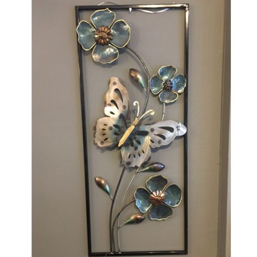 Wand decoratie metaal vlinders en bloemen in lijst