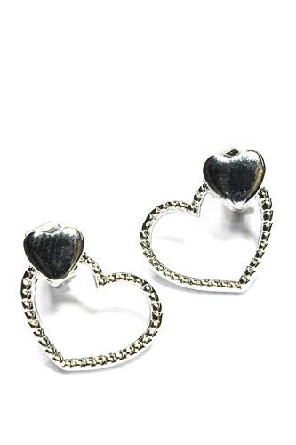 Doorsteker oorbellen hart zilverkleurig