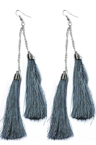 Hang oorbellen lange kwastjes grijs blauw