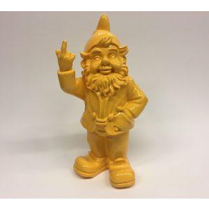 Fuck you kabouter met opgestoken middelvinger 30 centimeter geel