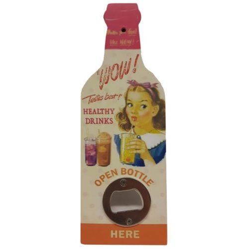 Flessen opener roze hout met opdruk Wow tastes best