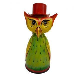Fairtrade beeldje metalen uil met rode hoed