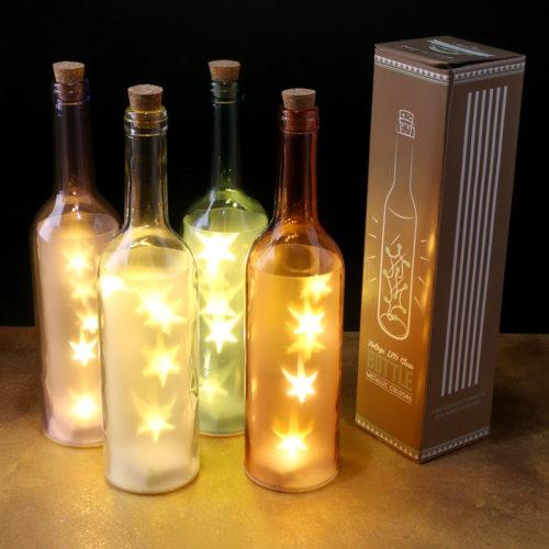 Gekleurde decoratieve fles met led lampjes in diverse kleuren