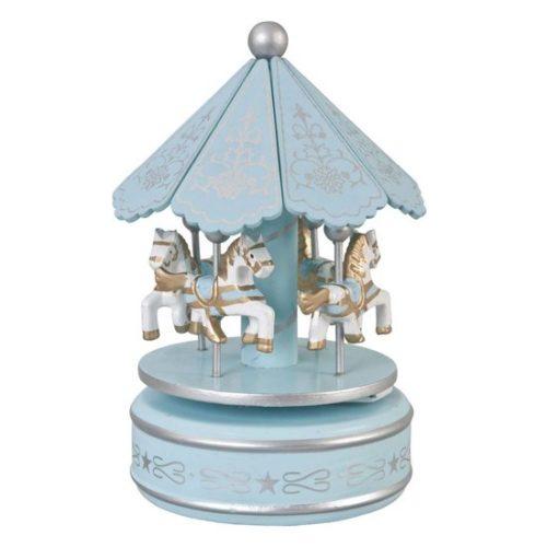 Muziekdoosje carrousel blauw van hout