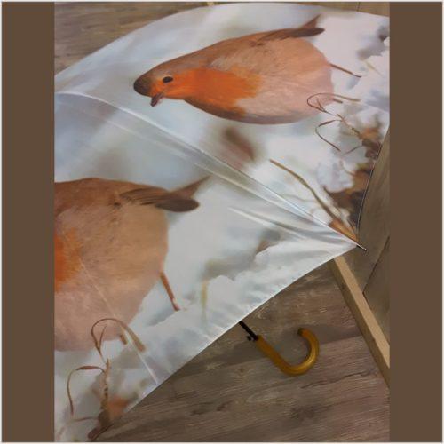 Paraplu roodborstje in winterlandschap van Esschert design
