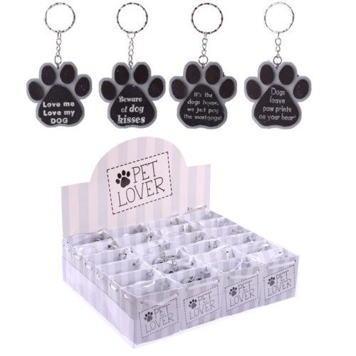 Sleutelhanger honden pootafdruk met tekst