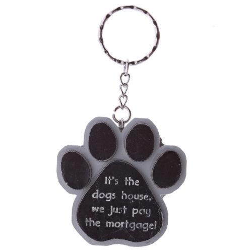 Sleutelhanger honden pootafdruk met tekst It's the dogs house
