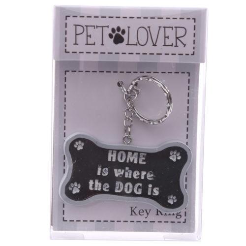 Sleutelhanger huisdieren met spreuk home is where the dog is