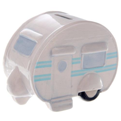 Spaarpot caravan keramiek in wit en lichtblauw rond