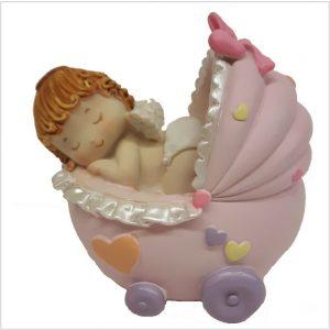 Spaarpot roze wandelwagen met baby