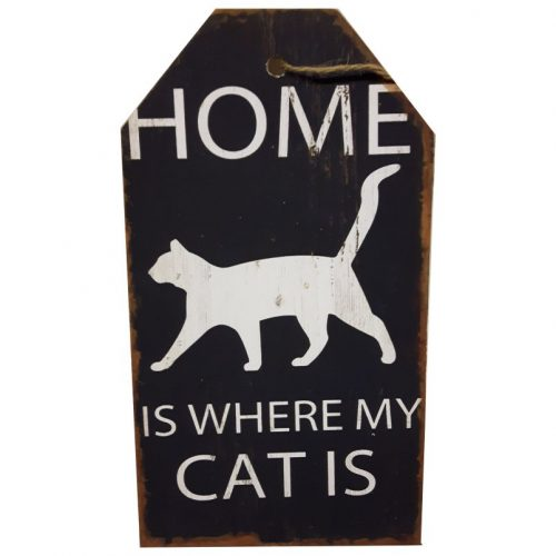 Tekstbord hout Home is where my cat is