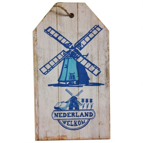 Tekstbord hout Oud Hollandsch met molen Nederland welkom