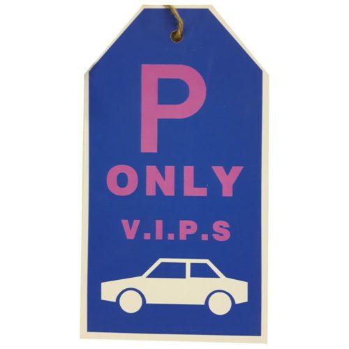 Tekstbord parkeren met auto parkeerplaats only VIPS