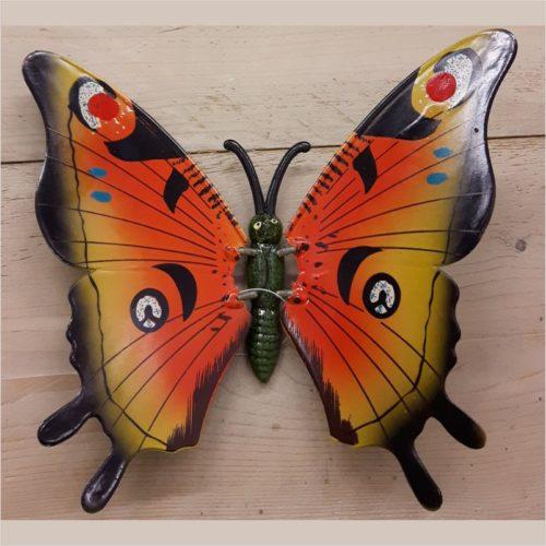 Hollandse wand vlinder 23 centimeter oranje zwart blauwe stippen