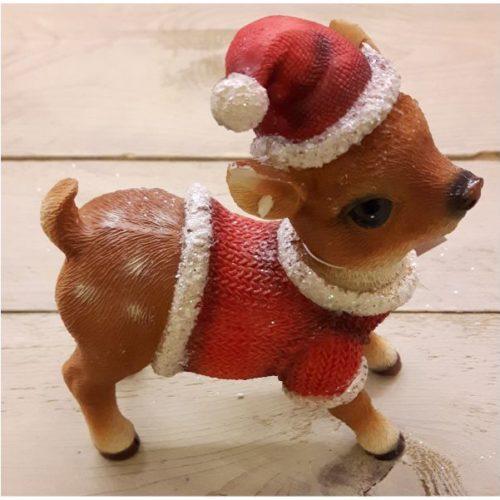 Kerst rendier met rode muts groot 2