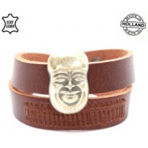 Lederen dubbele dames armband met Boeddha bruin