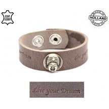 Lederen heren armband boeddha bruin-grijs live your dream