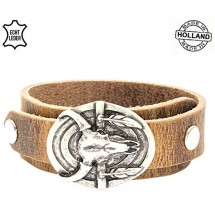 Lederen heren armband buffalo Dallas natural