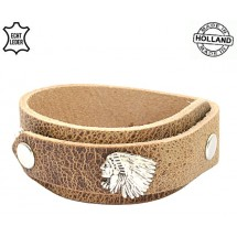 Lederen heren overlap armband Indian Dallas natural