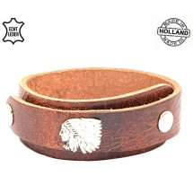Lederen heren overlap armband Indian bruin