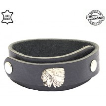 Lederen heren overlap armband Indian zwart