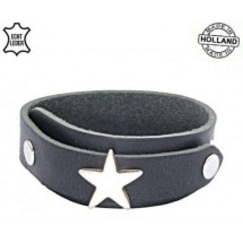 Lederen heren overlap armband star zwart
