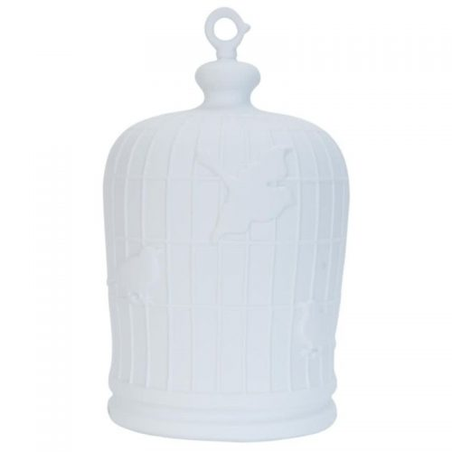 Tafel lamp vogelkooi groot wit keramiek