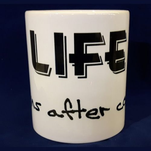 Witte koffiemok Life begins after coffee