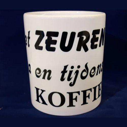 Witte koffiemok Niet zeuren voor na en tijdens de koffie