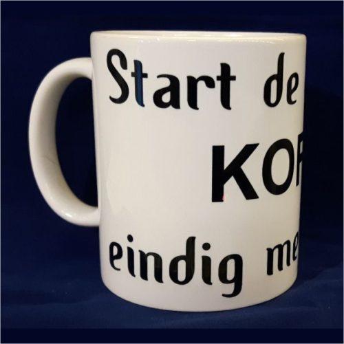 Witte koffiemok Start de dag met koffie eindig met bier 2