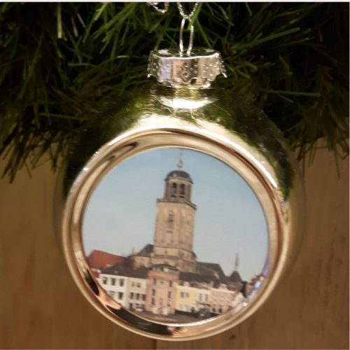 Deventer kerstbal skyline goud