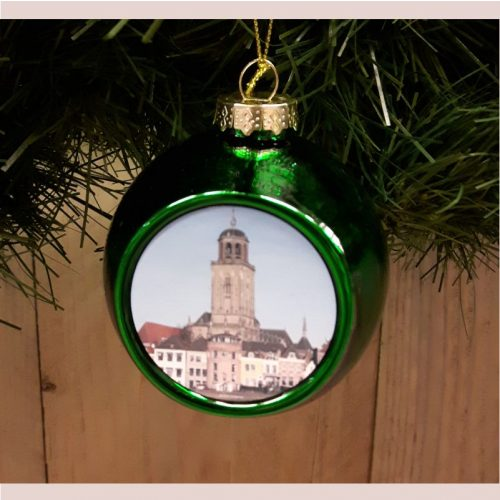 Deventer kerstbal skyline groen