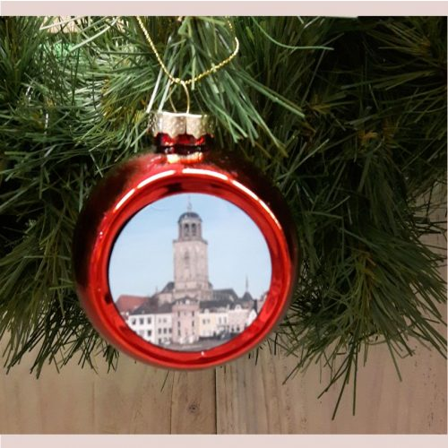 Deventer kerstbal skyline rood