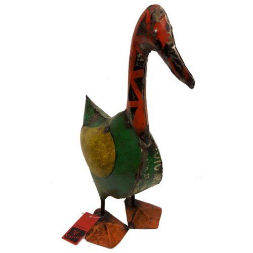 Fairtrade beeldje Varios eend gemaakt van oude olievaten 41cm