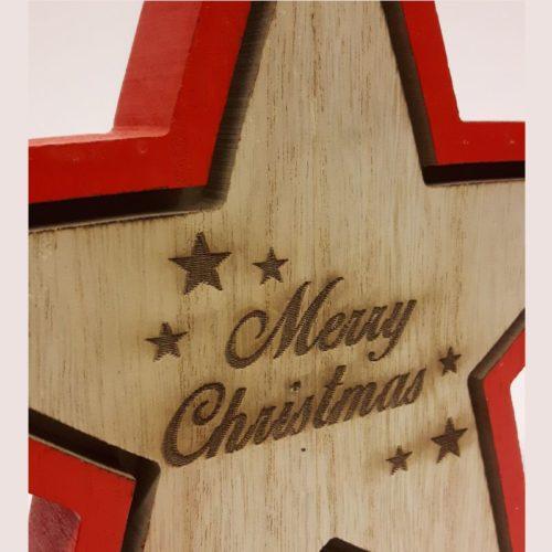 Houten ster Merry Christmas van Goldbach