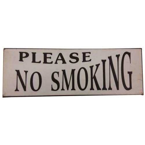 Metalen tekstbord Please no smoking