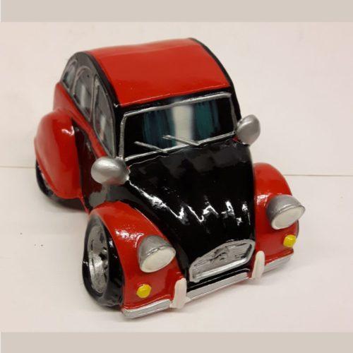 Spaarpot auto Citroen 2CV eend zwart rood