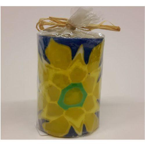 Swazi candle klein blauw met grote gele bloem