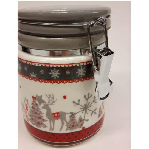 Voorraadbus keramiek kerstmis in wit rood grijs