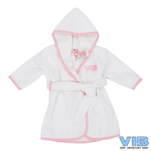 Baby badjasje VIB in wit met roze