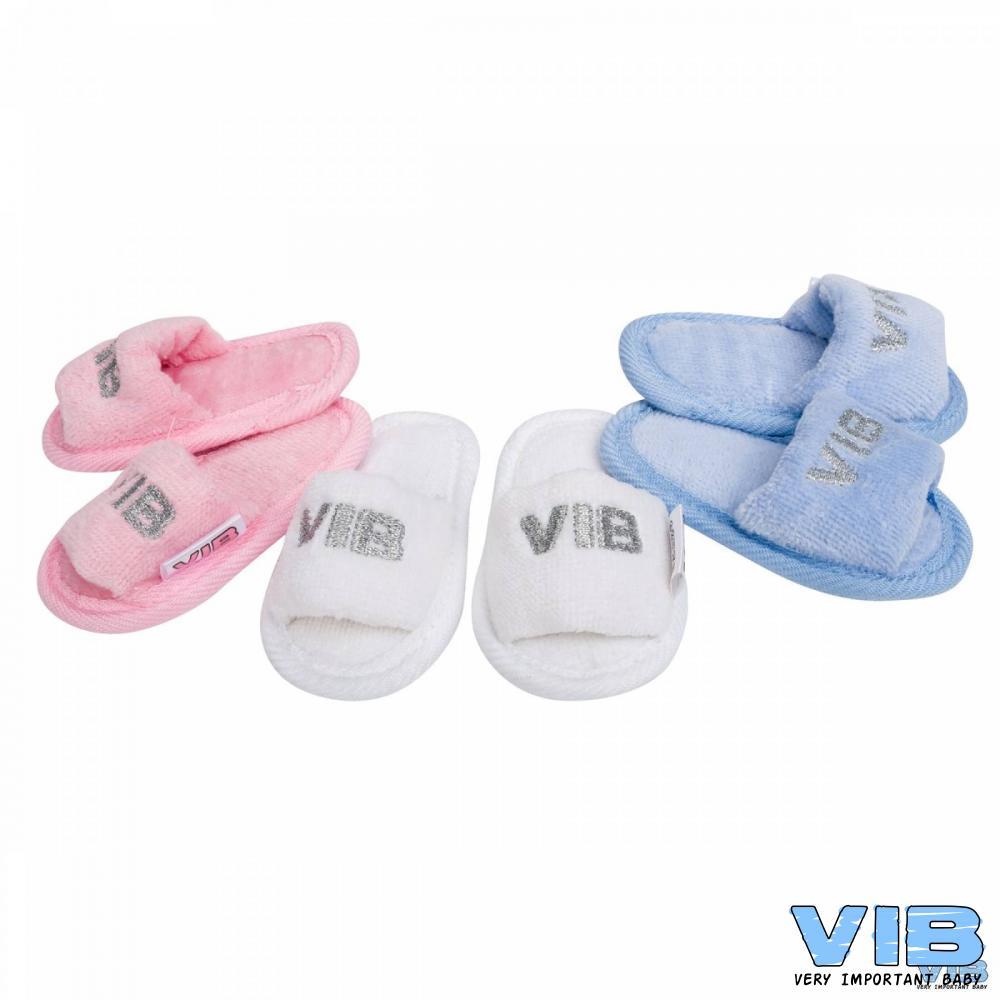 Baby slippers VIB in roze wit en blauw